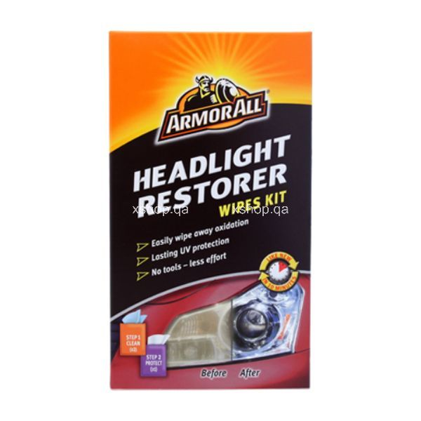 Armor All Headlight Restorer Kit Containing 2 Cleaning Wipes & 1 Protectant Wipe