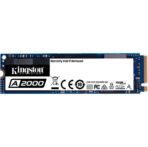 Kingston 500GB A2000 M.2 2280 NVMe Internal SSD PCIe Upto 2000MB-S with Full Security Suite SA2000M8-500G