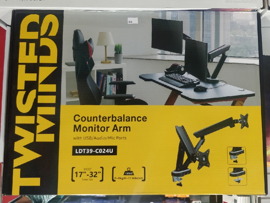 Twisted Minds Monitor Arms with 3.0 USB support ( Double Arm )